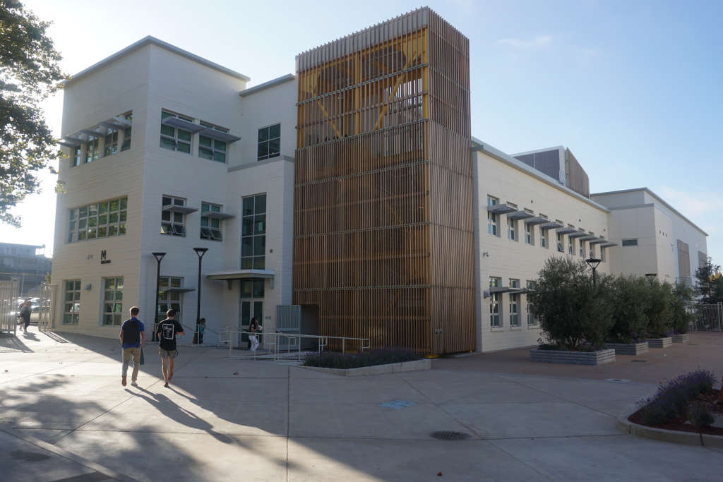 The view of the M Building as students approach it from the Campus Green