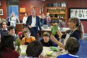 State Superintendent Tom Torlakson visited King's Edible Schoolyard in January