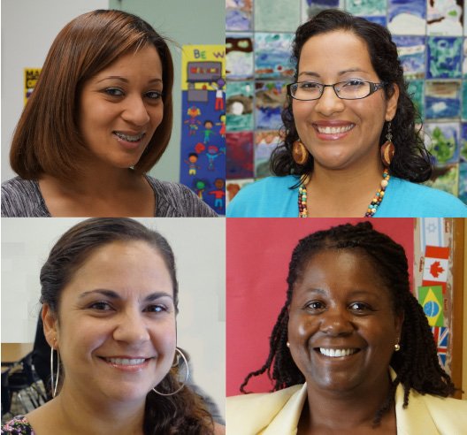 The Office of Family Engagement & Equity staff for fall 2013. Clockwise from top left: Dawn Robinson, Laura Rivas, Ann Marie Callegari, and Office Supervisor Charity DaMarto.