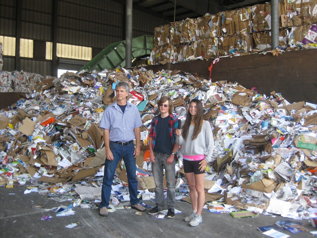 "Berkeley High Green Team members Sarah Mosley and Michael Grey tour the Berkeley Transfer Station with Andy Schneider, the City of Berkeley's Recycling Manager, while making the ""Think Before You Throw"" video about practicing the 4Rs at Berkeley schools."