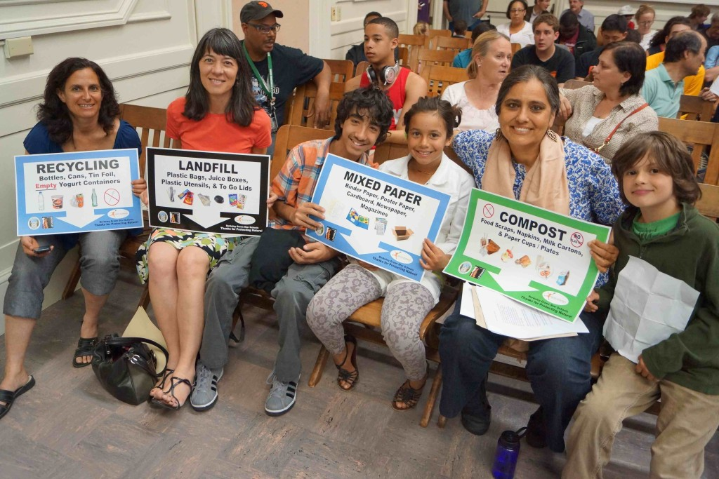 Susan Silber and Deborah Moore from Green Schools Initiative, with Longfellow student, Oxford 3rd graders, and Oxford teacher Jackie Omania presenting to the BUSD School Board in 2013 in support of the Waste Reduction School Board Resolution.