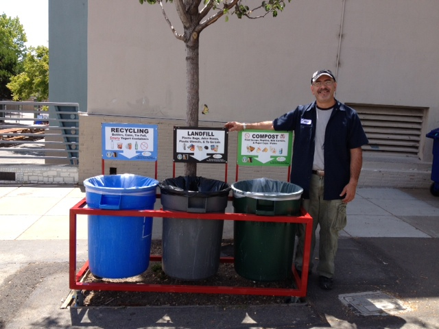 Rafael DelaTorre, Custodian at Washington Elementary School, built these wheeled waste stations for Washington and Willard schools.