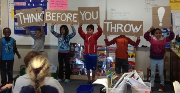 "Oxford Elementary Third Graders in Ms. Omania's class put on a ""Think Before You Throw"" skit."