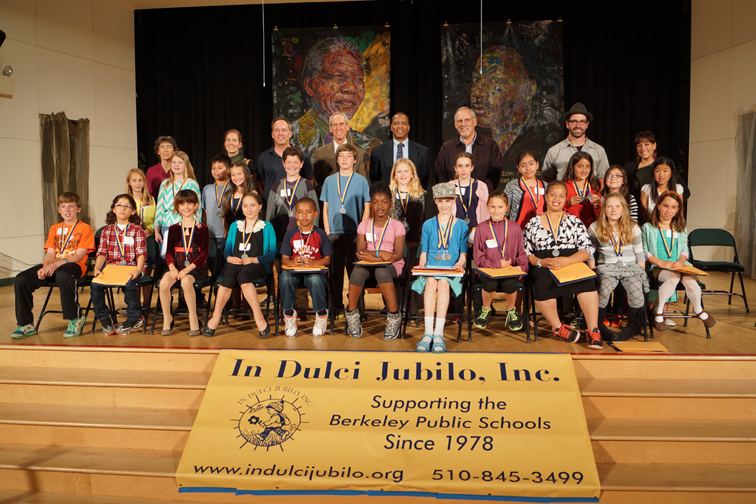 IDJ Art Poetry & Essay Contest 2014 Winners with Teachers, Superintendent Evans and Council-member Capitelli