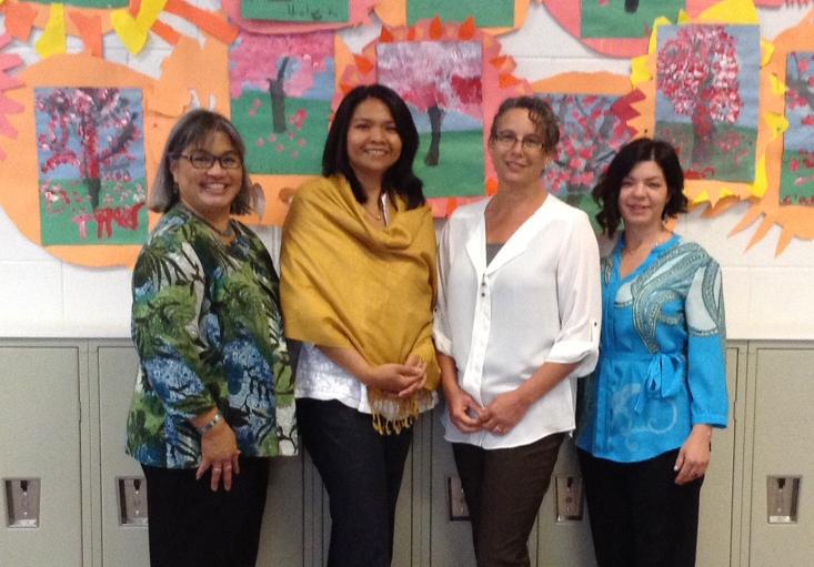 Acorn Woodland Elementary School in Oakland was also honored. May Lynne Gill (Malcolm X), Yusni Bakar (BAM), Judy Appel (BUSD), and Kim Plagenza (Acorn Woodland)