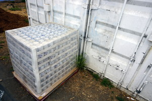 Emergency drinking water with 30 year shelf life delivered to all BUSD Emergency Containers.