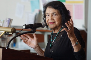 Dolores Huerta teaching teachers in the BHS Library