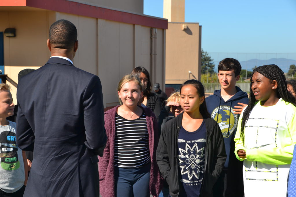 Superintendent Evans Connects with Middle School Students on the First Day Back