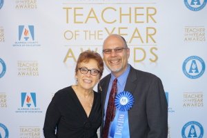 Alameda County Superintendent Sheila Jordan poses with BUSD 2014 Teacher of the Year Glenn Wolkenfelt