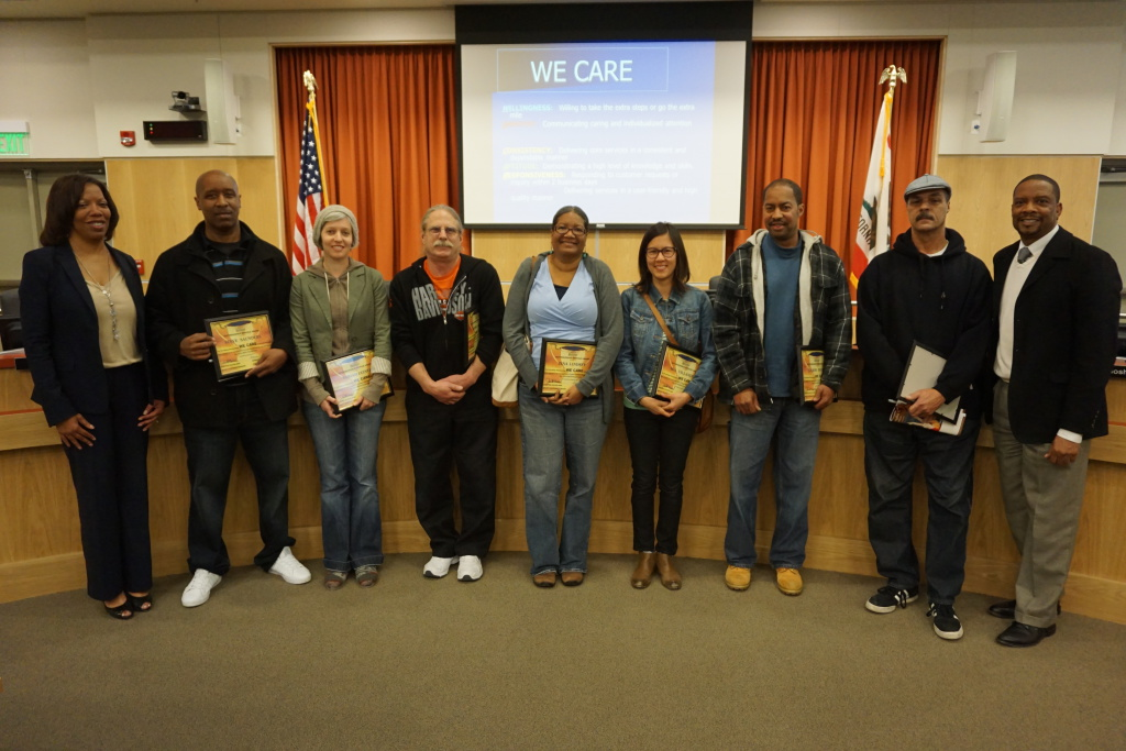 BUSD classified employees honored with WE CARE Service Awards (7 of 11 pictured with Deputy Supt. and Supt.)
