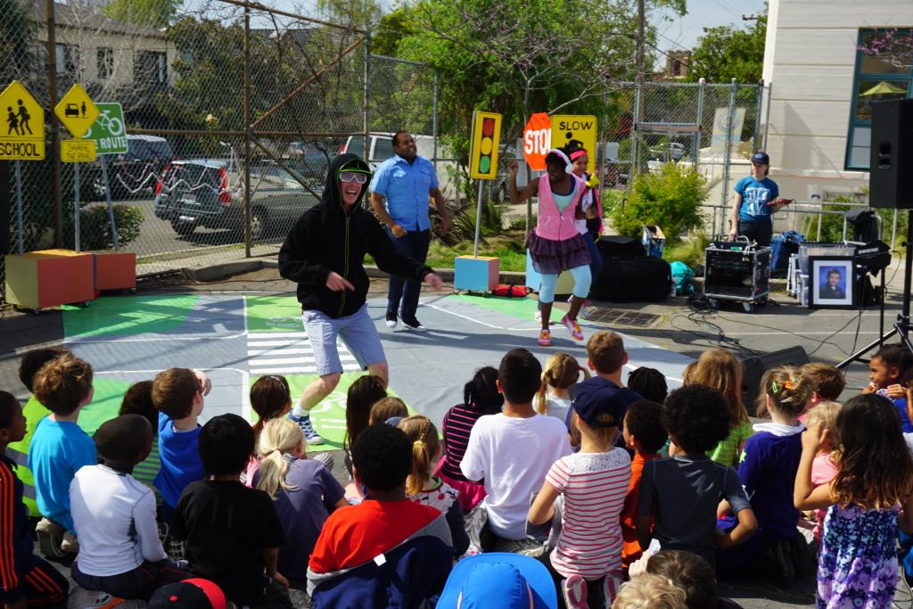 Safe Routs to School and Walk Man Visit Berkeley elementary schools