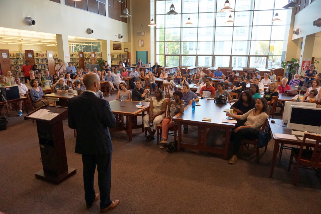 Nearly 200 people attended Berkeley High's Meet & Greet with new principal Sam Pasarow.