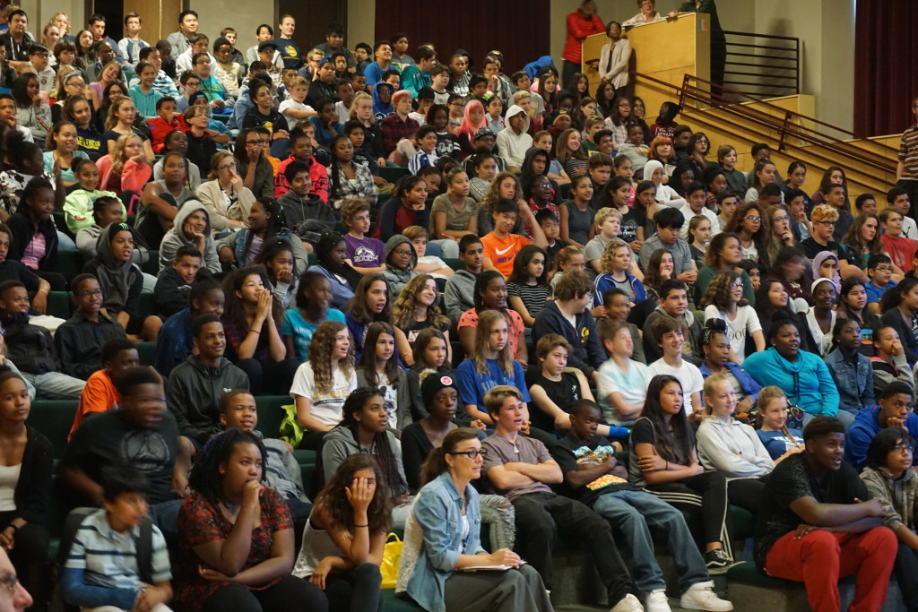 Longfellow students focus during Sexual Harassment Assembly