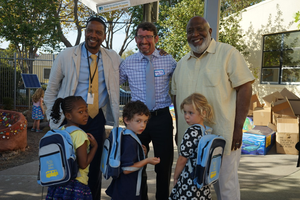 Superintendent Evans, Principal Furlan and Councilman Moore at Rosa Parks Welcome and Backpack Giveaway