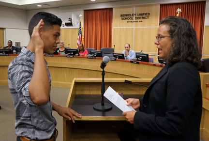 Student Director Angelo Paraiso-Arroyo sworn in by Board President Judy Appel for 2015-16