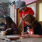 Willard students used note pads to communicate in the classroom during GSA's National Day of Silence