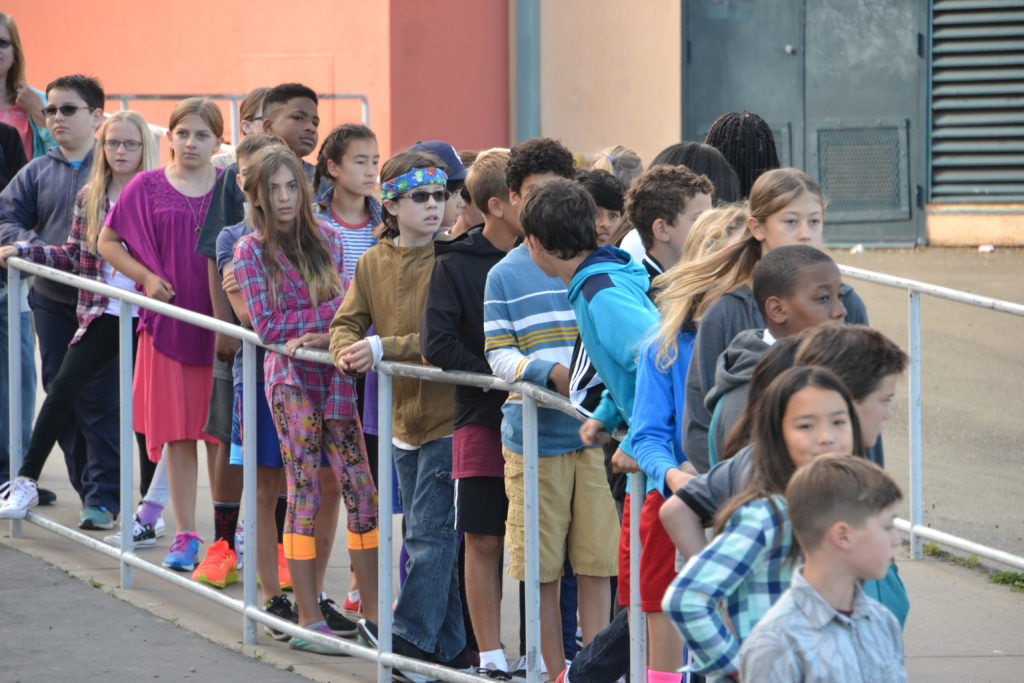 First Day of Middle School — Sixth Grade Students Lining Up