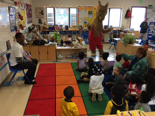 Superintendent and Llama Llama Visit Preschool Students on World Read Aloud Day