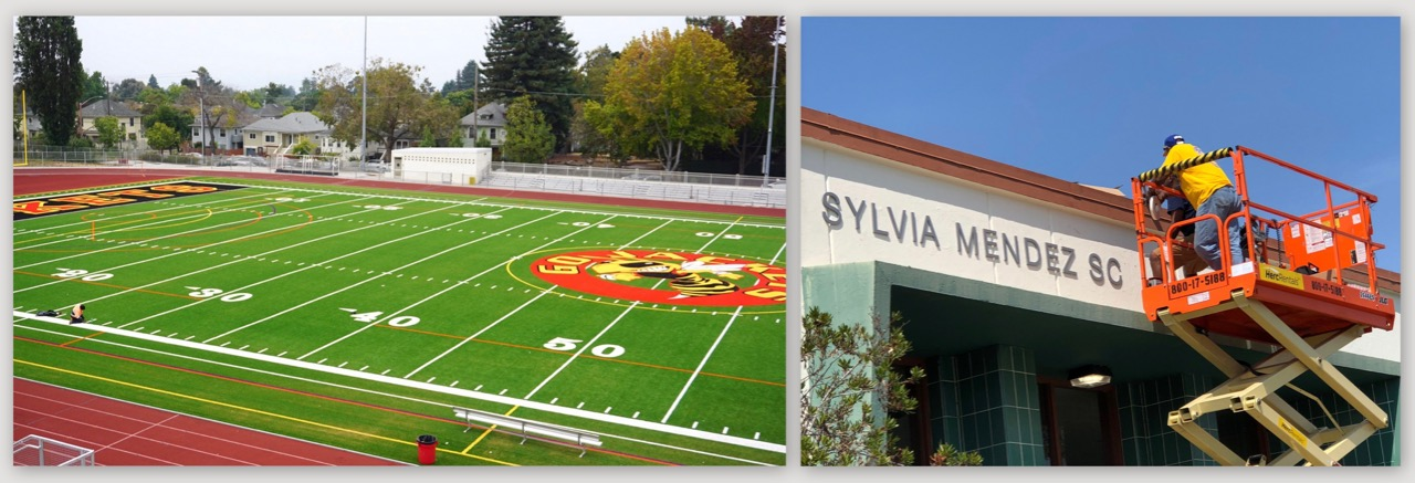 Photos of resurfaced football field at Berkeley High and installation of new name on Sylvia Mendez School.