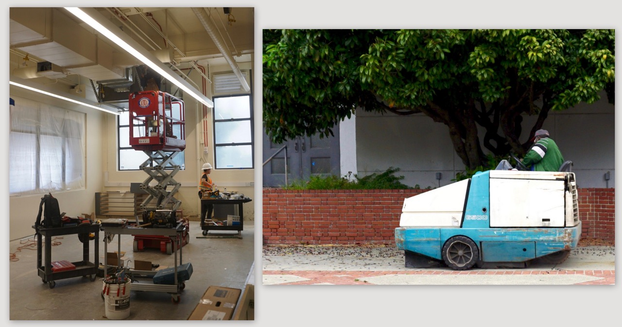 Photos of construction scene and mobile sweeper at Berkeley High.