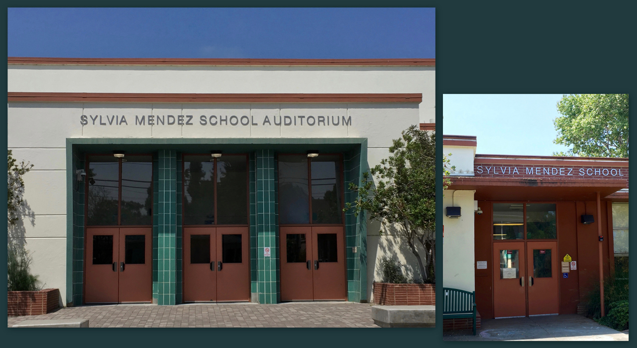 Photos showing the new signage for Sylvia Mendez School