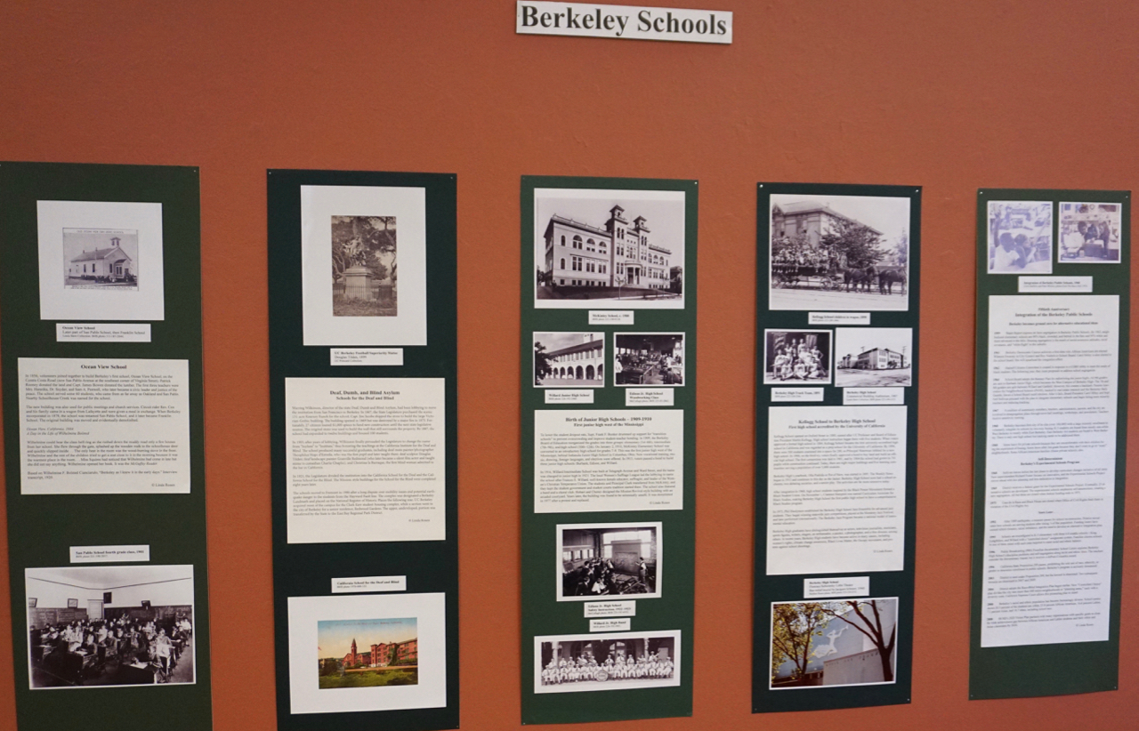 Photo of Berkeley schools wall in Berkeley Historical Society exhibition