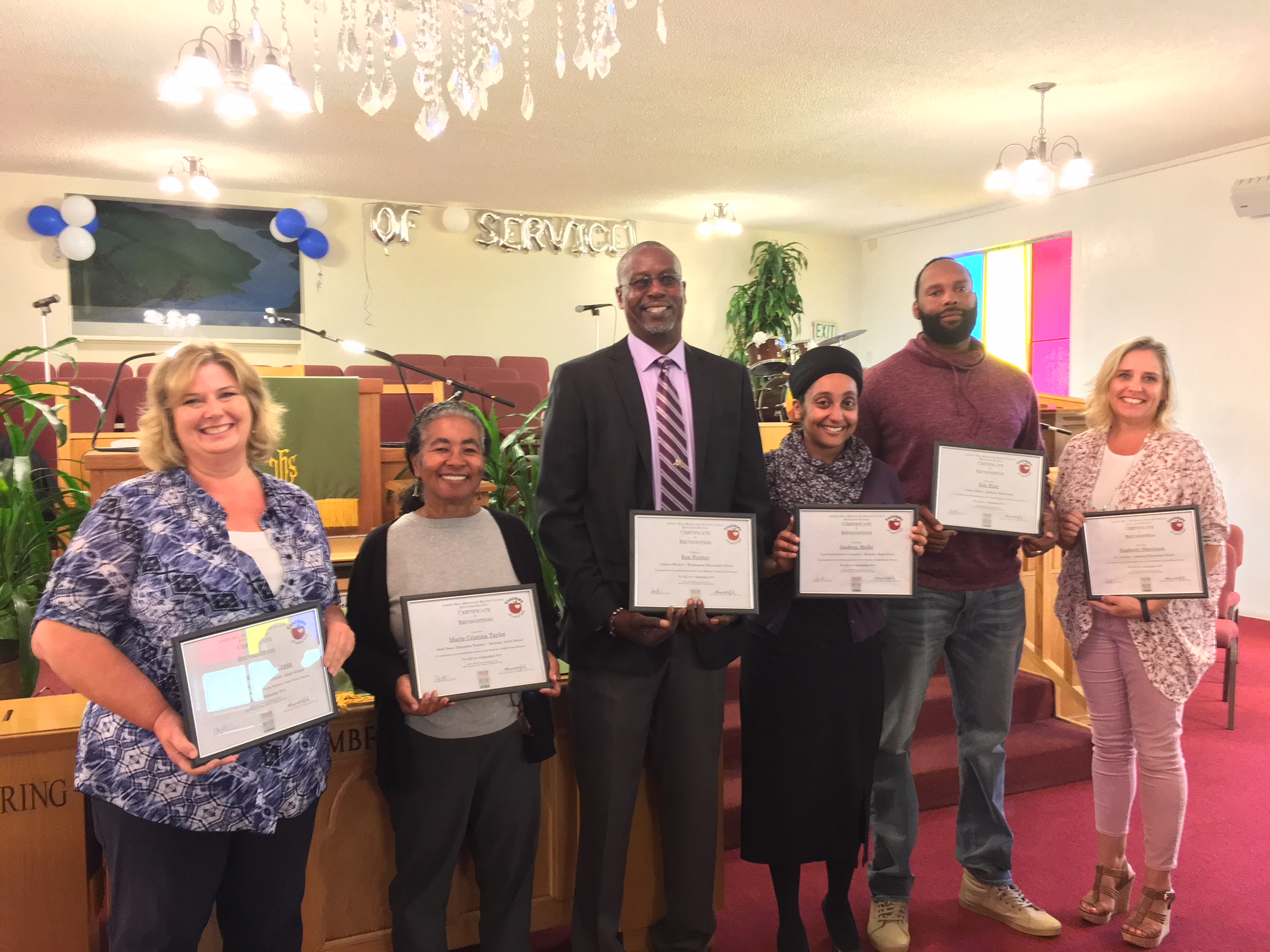 Photo of BUSD recipients of Certificates of Recognition at the Liberty Hill Missionary Baptist Church Education Sunday service