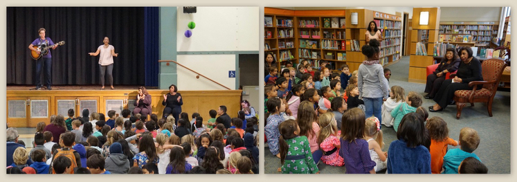 Photos of Mendez School assembly welcoming Sylvia Mendez and of Sylvia Mendez and her sister Sandra meeting with students in the school library