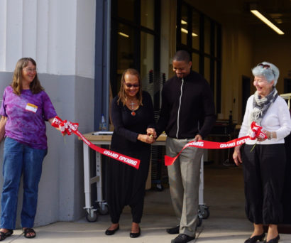 Superintendent Evans and Photo of School Board Member Karen Hemphill cutting the ribbon at the Grand Opening of the new CTE hub at Berkeley High