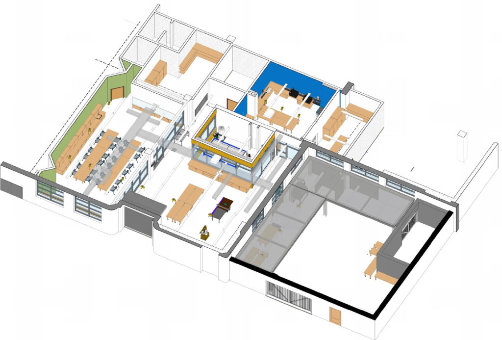 Drawing showing overview of Carpentry Shop & Maker Space at Berkeley High