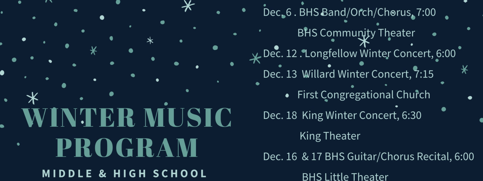 Winter Music Program – Upcoming Middle & High School Performances