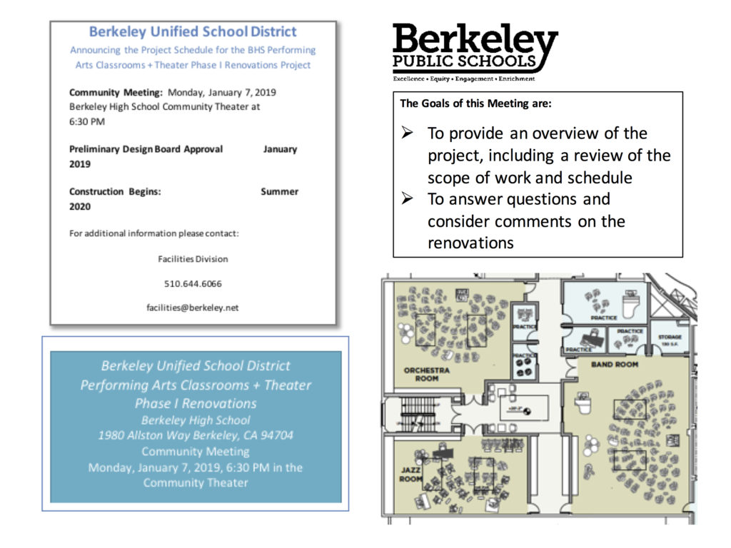 Flyer for Jan. 7, 2019 Community Meeting about renovation of Berkeley High School Community Theater