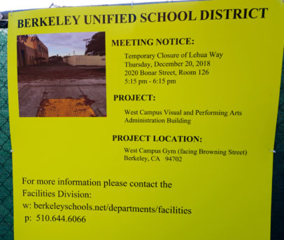 Photo of sign announcing Dec. 20 Community meeting