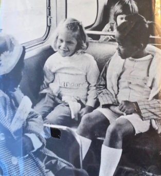 "Photo of integrated bus from book jacket of ""Now Is the Time: Integration in the Berkeley Schools"" by Neil Sullivan with Evelyn Steward, 1969"