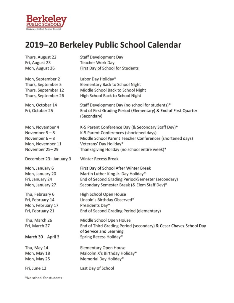Berkeley Academic Calendar 2021 2019 20 School Calendar Announced – First Day of School Is Aug. 26