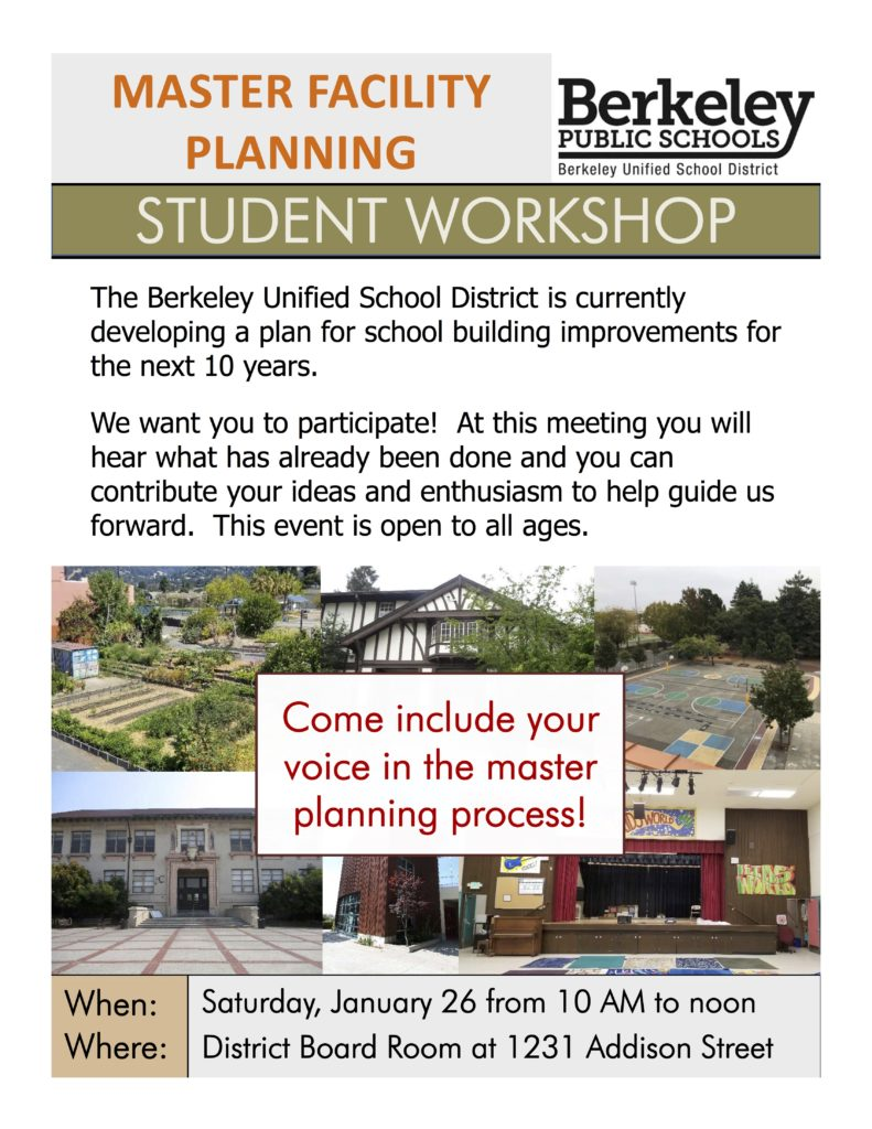Flyer for Jan. 26 community meeting about the BUSD Facilities Master Plan