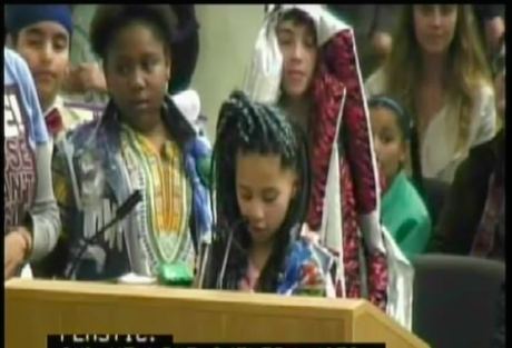 Photo of Oxford Elementary School students speaking at Berkeley City Council