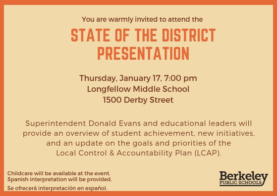 Photo of postcard invitation to Superintendent's State of the District presentation