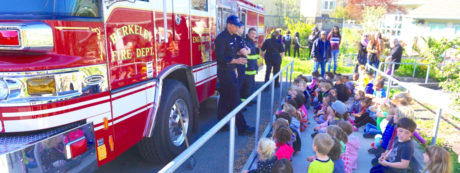 Photo of Berkeley firefighters with fire engine at King Development Center