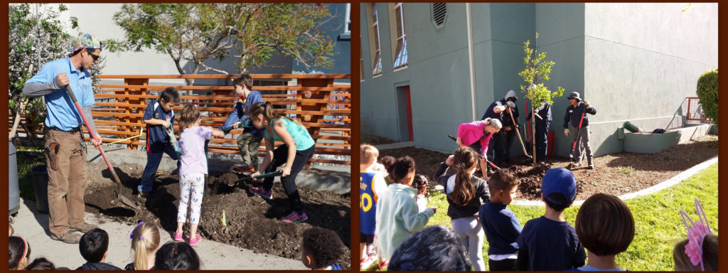 Collage of two photos showing tree planting at Washington and Malcolm X tree plantings