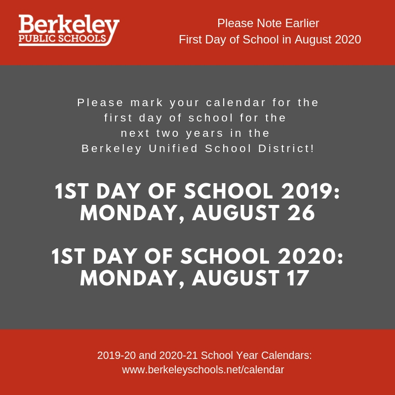 Berkeley Fall 2020 Calendar Calendar | Berkeley Unified School District
