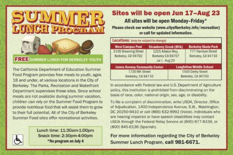 Berkeley Schools Offer Free Summer Breakfast and Lunch for Youth