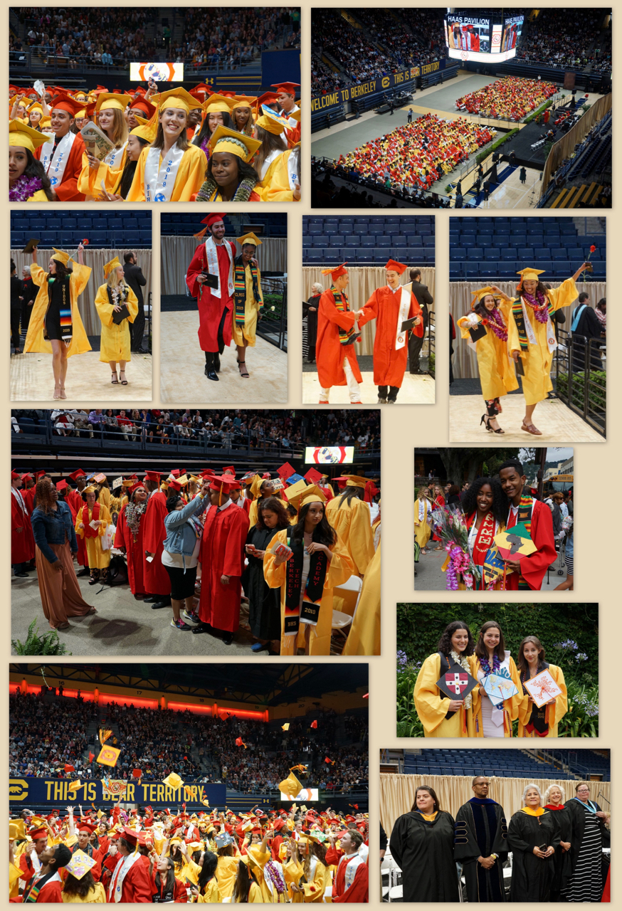 Collage of photos from 2019 BUSD high school graduation