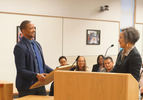 Photo of Superintendent Evans receiving a Certificate of Recognition from Alameda County Superintendent of Schools L. Karen Monroe