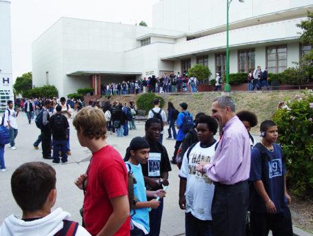 Jim Slemp talking to students at Berkeley High School.