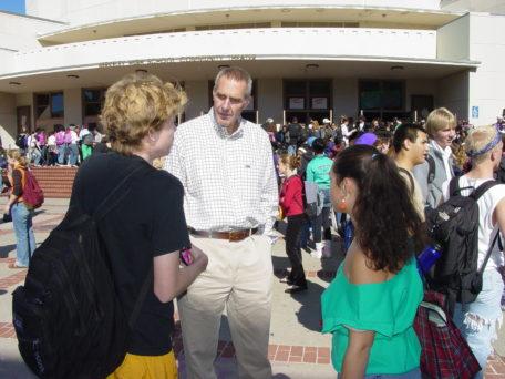 BHS principal Jim Slemp talking to students.
