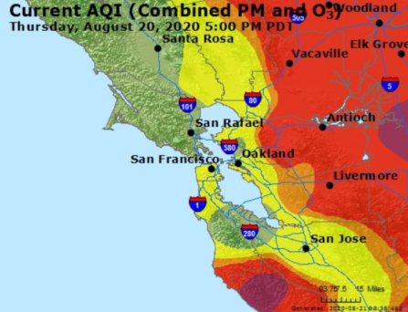 This is an image of the Air Quality Index in the San Francisco Bay Area at 5:00 pm on Thursday, August 20. It hows the Oakland area, which includes Berkeley, as the color yellow, which indicate the air quality index is moderate.