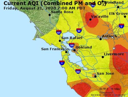 This is an image of a Bay Area map at August 21 at 7:00 am. It shows color-coded air quality index levels. Oakland and Berkeley are shown as orange, while other nearby area are shown as yellow. More outlying areas are shown as orange and red.