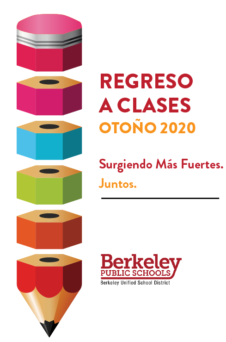 This is the cover of the Spanish language version of the Back to School Fall 2020 distance learning plan. It links to the full plan.