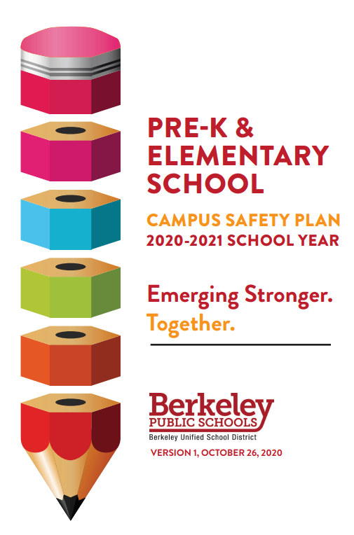 This is the cover of the Pre-k and elementary school campus safety plan 2020-21 School Year